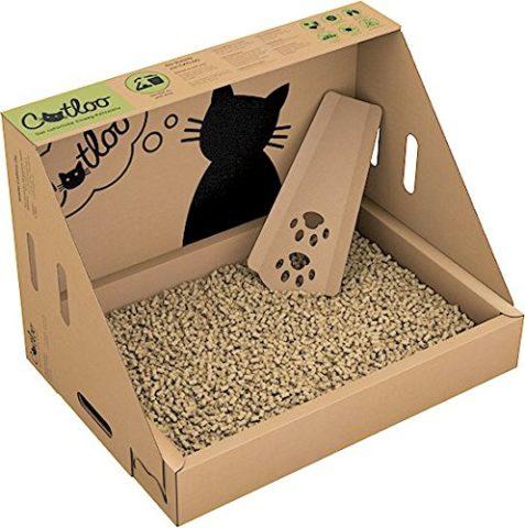 Einwegkatzenklo Catloo mit Katzenstreu und Streuschaufel für Unterwegs - Foto: Amazon.de